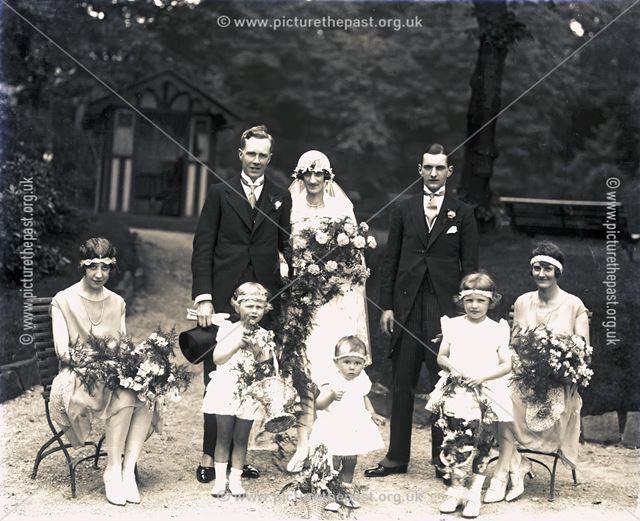 Portrait of Wedding Party, Pavilion Gardens, Buxton, c 1920s