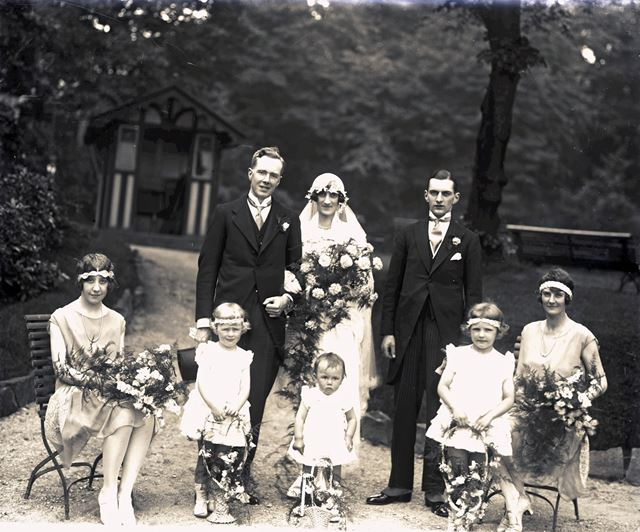 Portrait of (unknown) Wedding Party Pavilion Gardens, Buxton, c 1920s