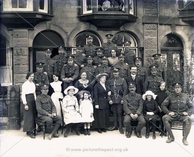 Portrait of (unknown) Regimental Wedding Party, Buxton, c 1920s