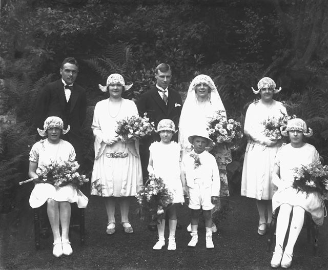 Group Photo of (Unknown) Wedding Party, Pavilion Gardens, Buxton, c 1920s