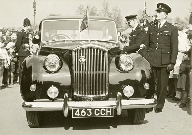 Inspector Bill Clark of Derbyshire Constabulary with the Mayor's car, Derby, 1950s