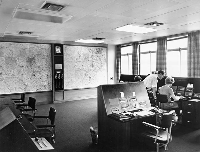 Derbyshire County and Borough Police Control room at HQ, 1967-1973 with Terry Corrigan