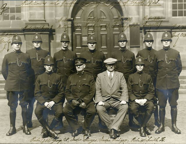 Derbyshire Constabulary probationers at the end of training, April 1928. Insp Sturges and Insp Rodge