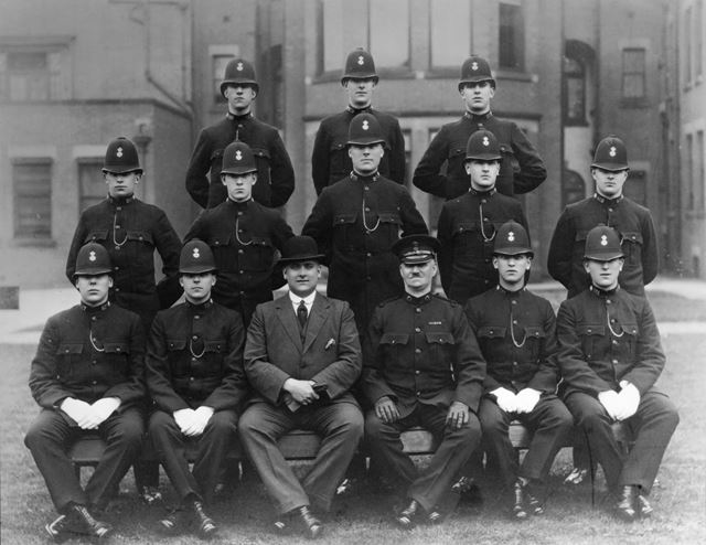 Derbyshire Constabulary probationers at end of training, 1924. Insp Sturges and Insp Rodger.