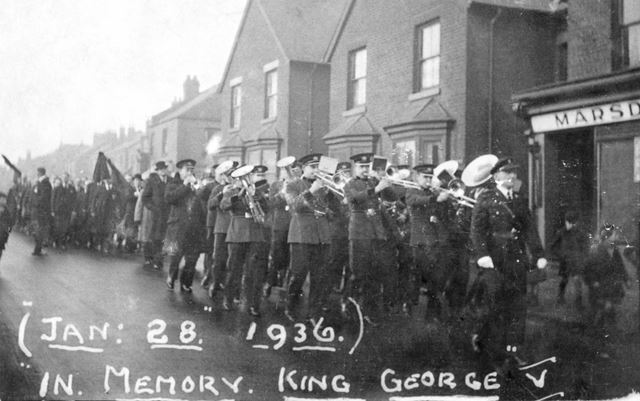 Creswell Colliery Brass Band on parade, in memory of King George V