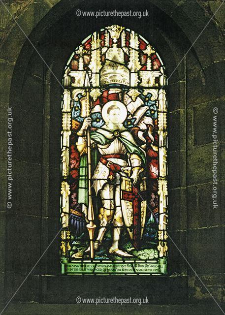 Stained glass window - memorial to Captain and Adjutant Basil W Bird MC bar, Shirebrook,