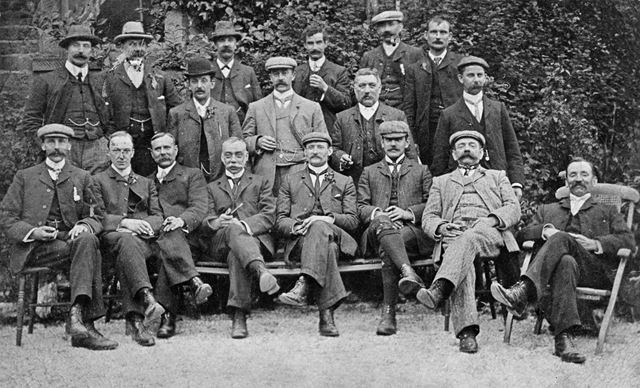 Middle row, far right, is Charles Leaning. He was Clerk to the Manager of Bolsover Colliery when it