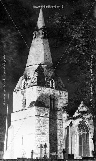The Church spire, floodlit