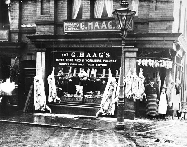 G Haag's butcher's shop, Beetwell Street, c 1910