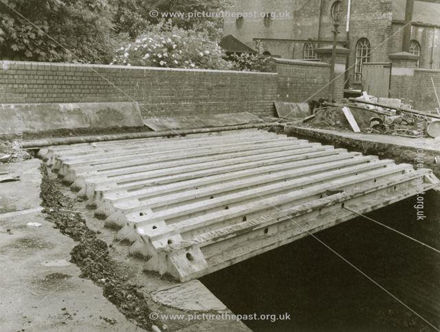 Hipper Bridge reconstruction, Park Road, Boythorpe, Chesterfield, 1954