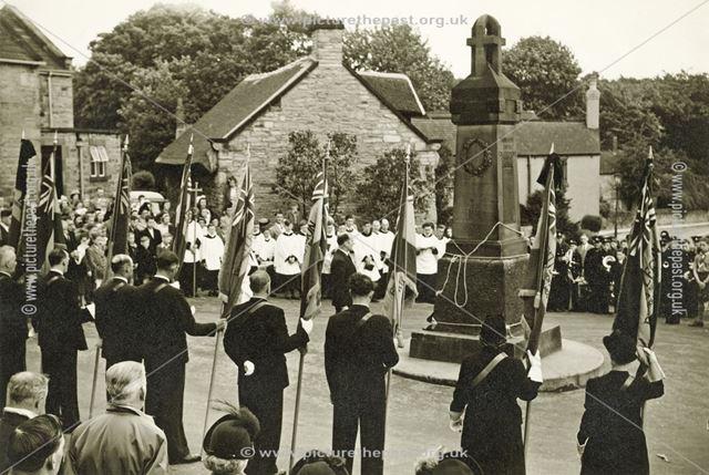 British Legion Wreath Laying at Memorial, Old Whittington, c 1950