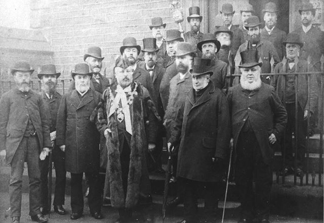 Mayor and Council Officials, Beetwell Street, Chesterfield, 1885-86