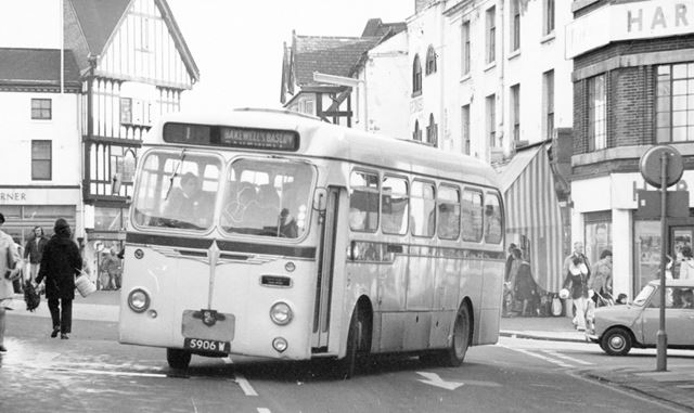 Hulleys Bus, Low Pavement, Chesterfield, c 1965