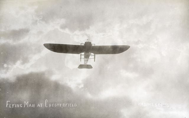 B C Hucks' Bleriot aeroplane in the air, Brampton, Chesterfield, 1912