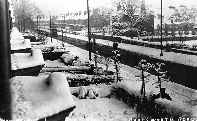 Chatsworth Road in the snow, Brampton, Chesterfield, c 1920