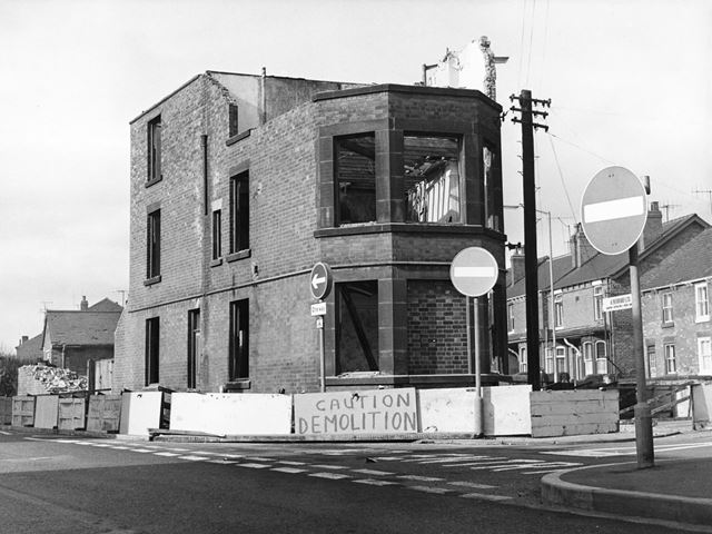 Demolition of former police station, Brampton, Chesterfield, 1971