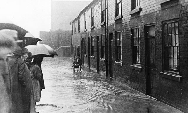 Flooded cottages on Chatsworth Road, Brampton, Chesterfield
