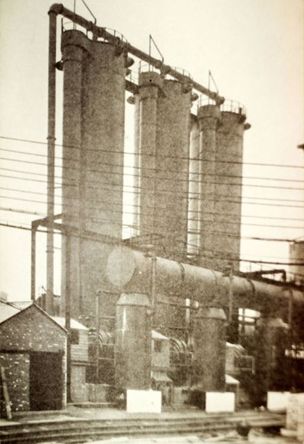 Gas scrubbing towers and Theissen washers at Staveley's Power works