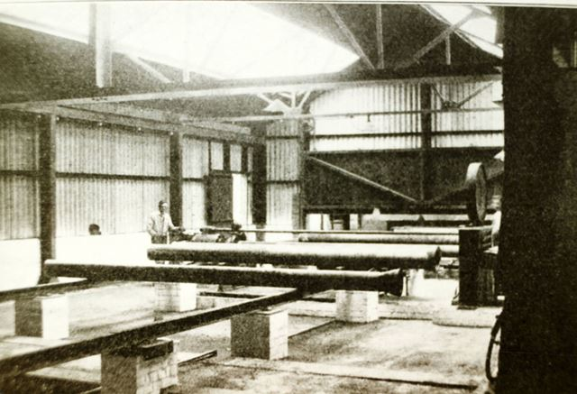 Weighing and testing pipes at the Sand Spun Plant