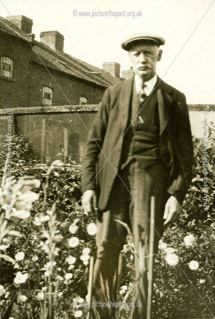 Mr Straw in his garden