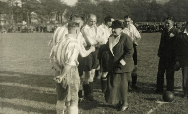 Charity Football Match in the Grammar School Fields, Chesterfield Road-Green Lane, Dronfield, c 1948