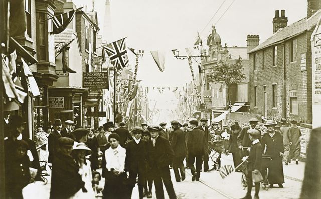 Decorations For King George V's Visit, Bath Street, Ilkeston, 1914