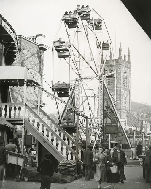 Roller Coaster and Big Wheel at Ilkeston Fair, Wharncliffe Road, Ilkeston, 1955