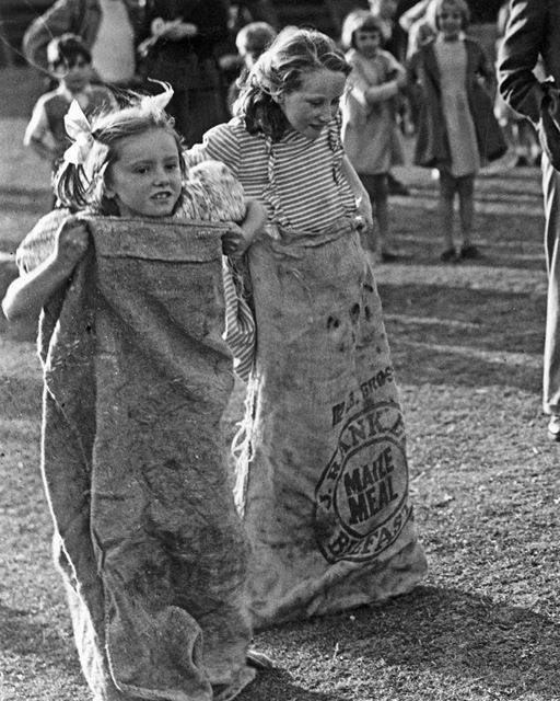 Community Association Carnival - Sack Race, Children's Sports, Crompton Street, Ilkeston, 1949