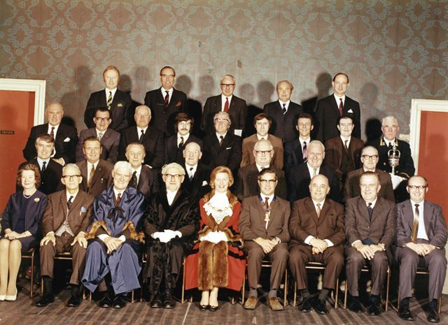 Borough Council members and officers, Ilkeston, 1972