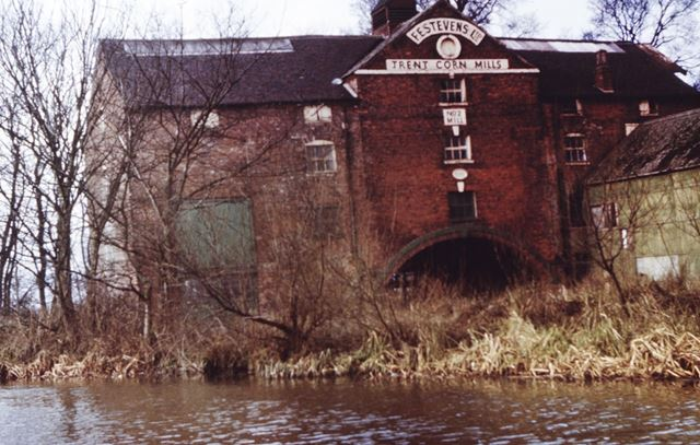 Trent Corn Mills No 2 on the Trent and Mersey Canal, Shardlow, c 1970s