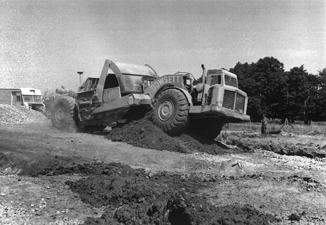 Dowsett Bulldozer, A38 Construction Site, Ripley, 1976