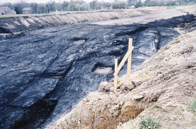 Coal seam exposed during construction of Inner Relief Road (later Chalons Way), Ilkeston, c 1995 ?
