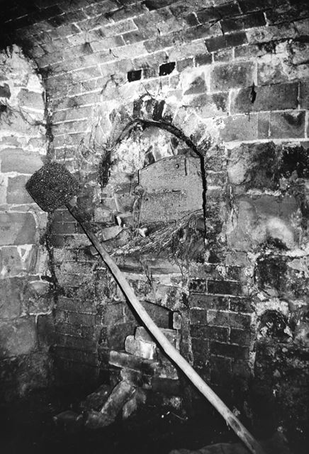 Oven inside former bakehouse off The Village, Dale, early 1970s ?