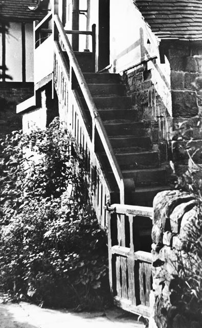 External staircase at All Saints Church, Dale, date unknown