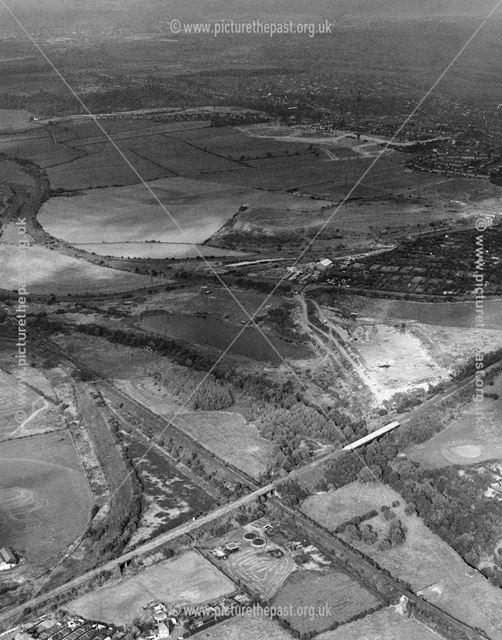 Aerial view showing Nut Brook valley, Ilkeston, 1970