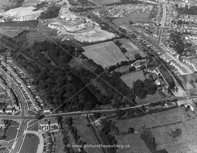 Aerial view showing Little Hallam Hill area, Ilkeston, 1971