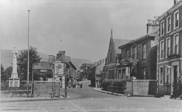View Down Market Street with Royal Hotel on Right, Hayfield, c 1920s ?