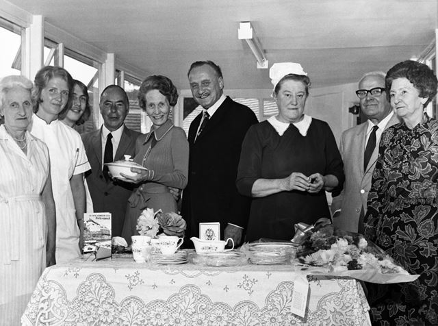 Retirement of Mrs Millicent Kitchen from the X-ray Department at Buxton Hospital, Buxton, 1975