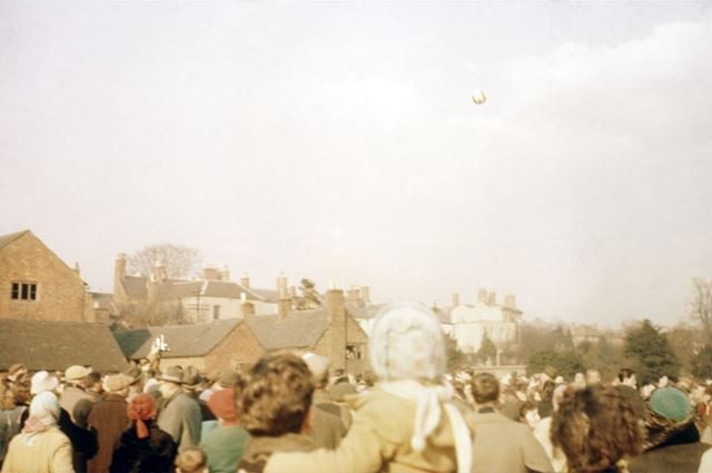 Shrovetide Football Game: The ball is Thrown Up to start the game.