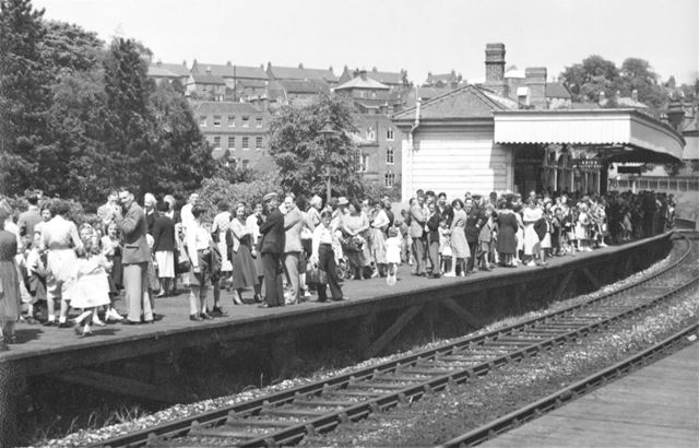 People waiting for a train at Ashbourne Station