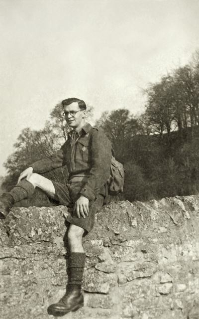 Tom (John Tomlinson) on bridge at Lathkill Dale, 1948