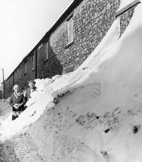 Mr and Mrs Garner's home in the snow, Upper End, Peak Dale, Winter 1963