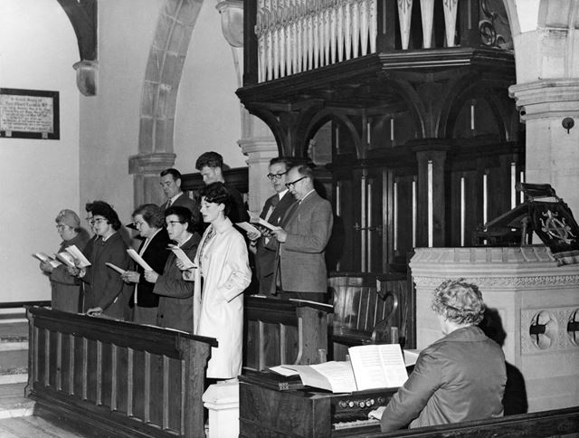 Choir rehearsing in King Charles the Martyr Church, Peak Forest
