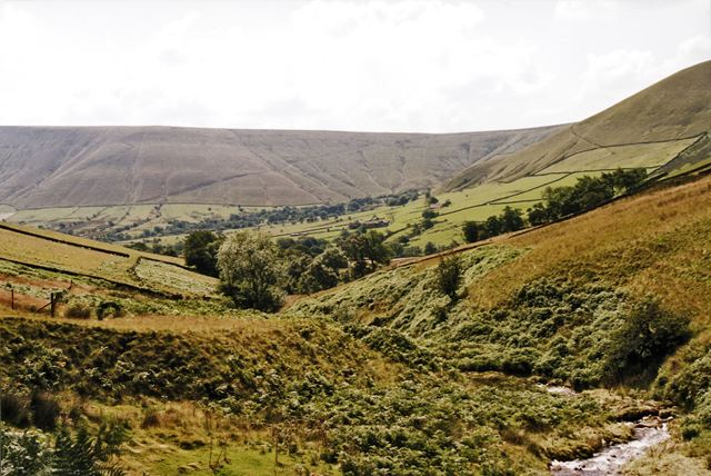 Edale - Looking back down Crowden Brook towards Upper Booth and beyond to Rushup Edge