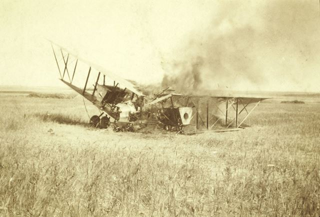 A Burning Caudron G6, Egypt, 1917