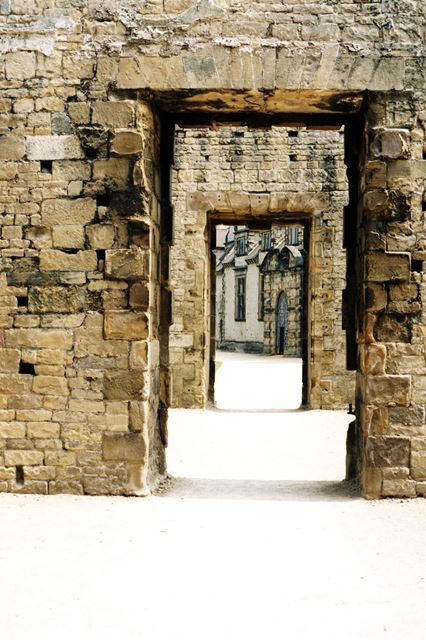 Bolsover Castle - View through the doors within the Great Court, towards the Riding House