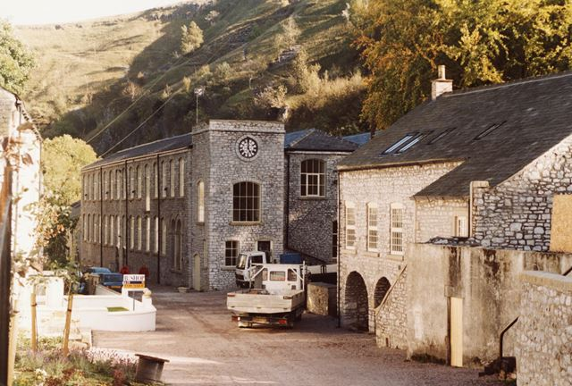 Mill buildings during restoration at Litton Mill