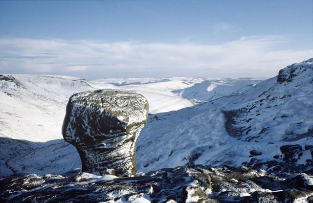 View in winter from the top of Grindsbrook, Kinder Scout