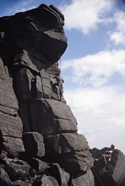 Rock climbing on Jeepers Creepers, Stanage Edge