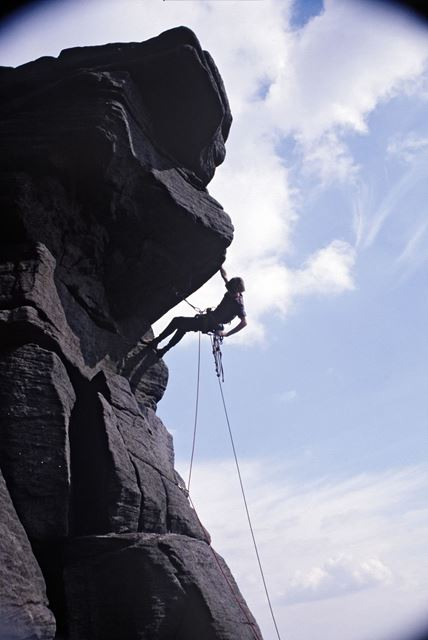 Rock climbing Jeepers Creepers, Stanage Edge